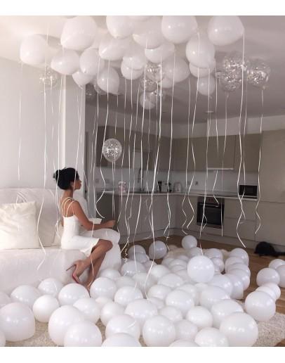 белые шары + конфетти
